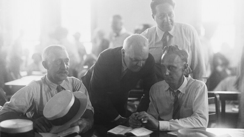 Dudley Field Malone, Garfield Hays, Thomas Scopes and John Scopes in the courtroom during the trial