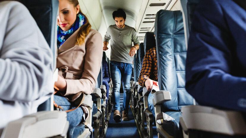 crowded airplane