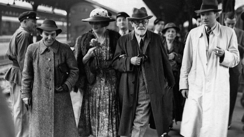 Sigmund Freud (second right) arrives in Paris after leaving Vienna en route to London, June 1938. He is accompanied by his daughter Anna (left), Marie Bonaparte, the wife of Prince George of Greece (second left), and her son Prince Peter of Greece. Pictorial Parade/Getty Images