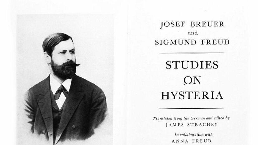 Title page from Joseph Breuer and Sigmund Freud's 'Studies on Hysteria,' features an 1891 portrait of a young Dr. Freud. Universal History Archive/UIG via Getty Images