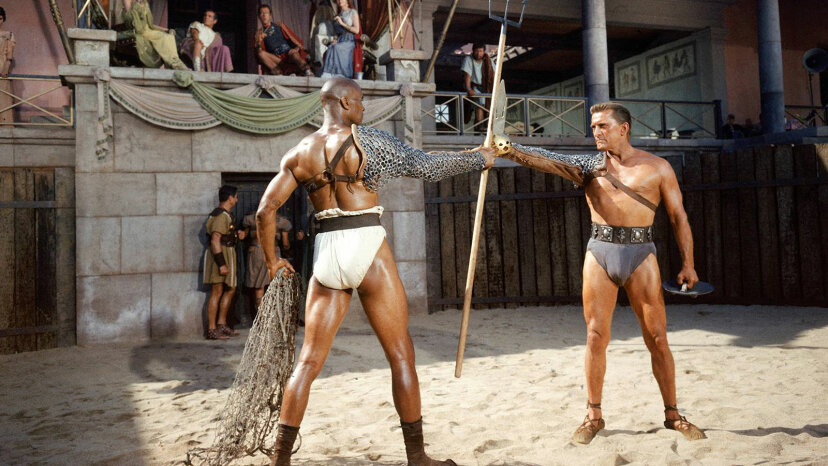 Kirk Douglas, Woody Strode, Spartacus movie
