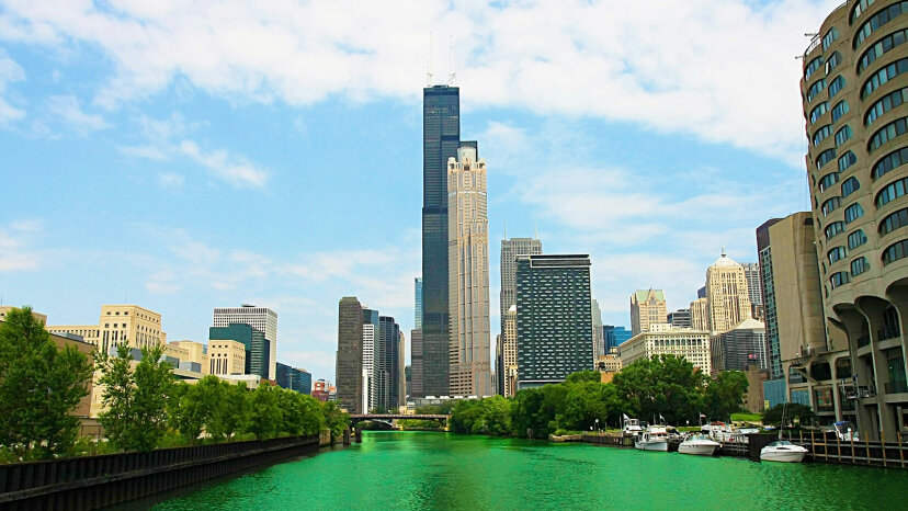 Chicago River, green