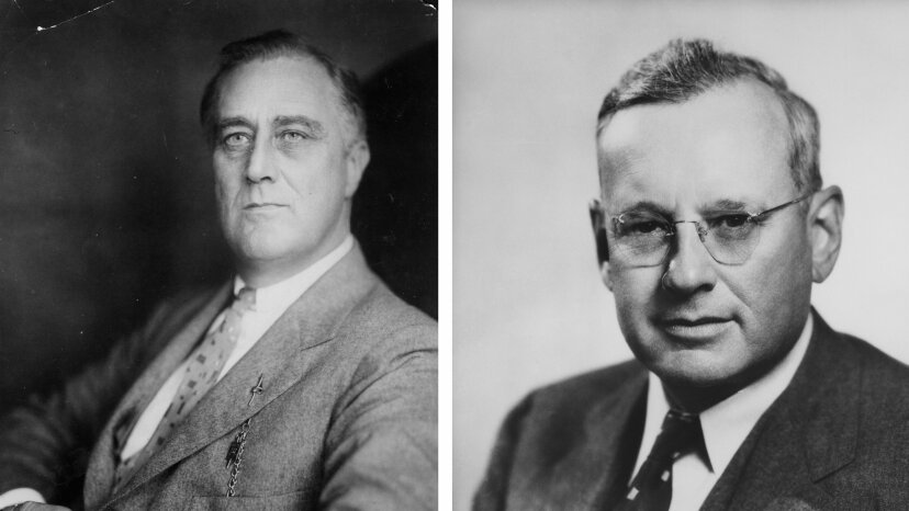 Thanks to a sampling bias, the Literary Digest incorrectly predicted that Alf Landon (right) would defeat Franklin D. Roosevelt (left) in the 1936 presidential election. Keystone View Company/FPG/Archive Photos/Getty Images