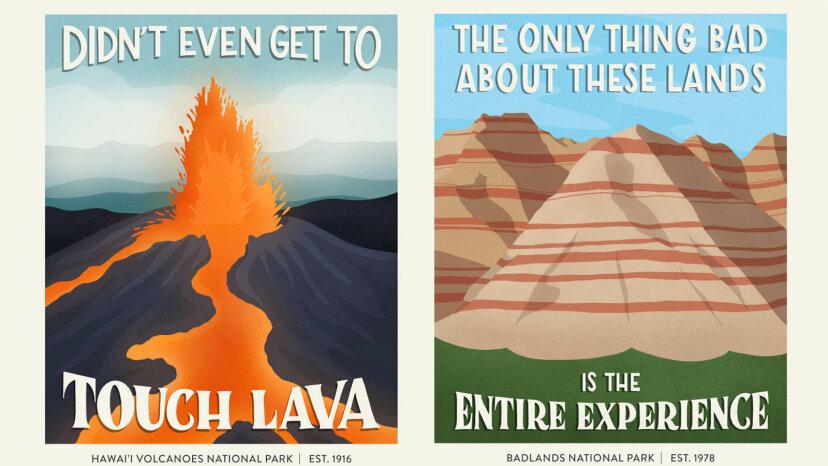 陽気なポスターは悪い国立公園のレビューで楽しみを突く