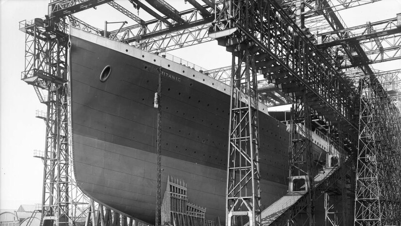 The Titanic is readied for launch in Belfast.