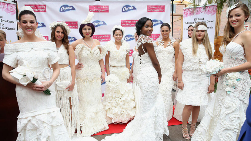 Models pose at the 12th Annual Toilet Paper Wedding Dress Fashion Show in New York City, on June 16, 2016. Robin Marchant/Getty Images