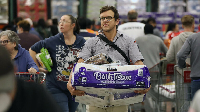 shopper with toilet paper