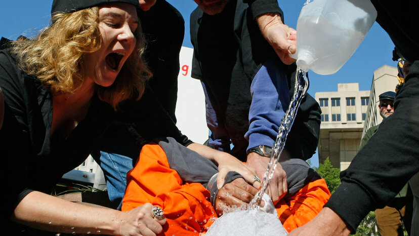 water boarding at demonstration