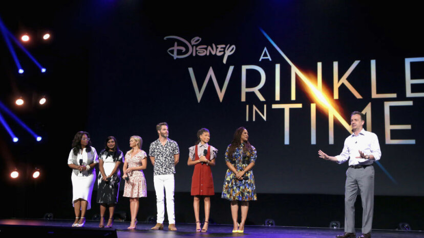 Actors Oprah Winfrey, Mindy Kaling, Reese Witherspoon, Chris Pine, Storm Reid, director Ava DuVernay, A Wrinkle in Time