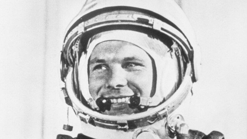 cosmonaut Yuri Gagarin in spacesuite