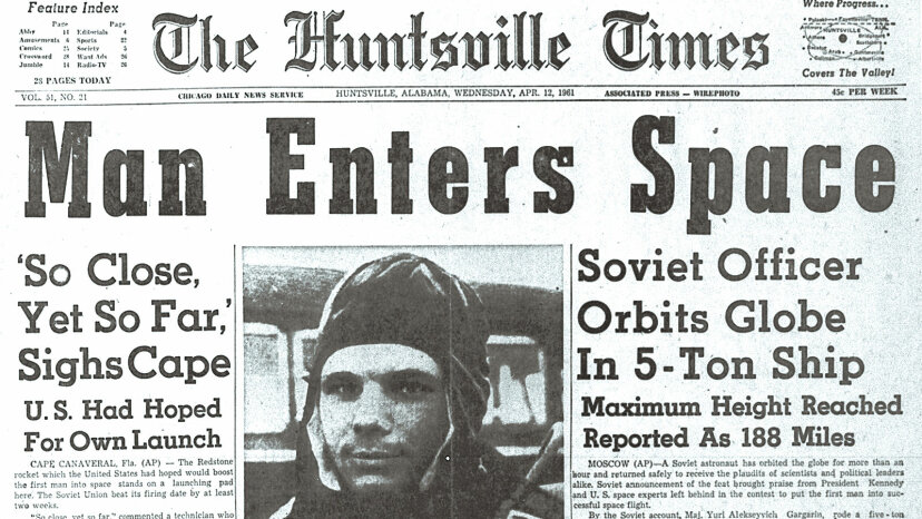 Huntsville Times, First Man in Space headline