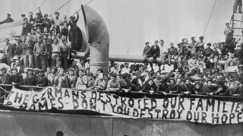 Jewish refugees aboard the illegal immigrant ship