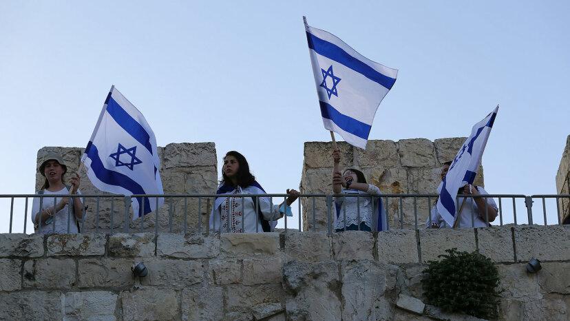 Jews, flags, celebration Israeli occupation