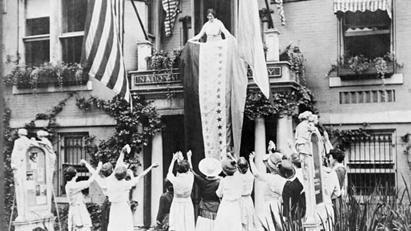 suffragettes celebrating