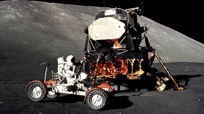 Commander Eugene Cernan driving the Apollo 17 lunar rover