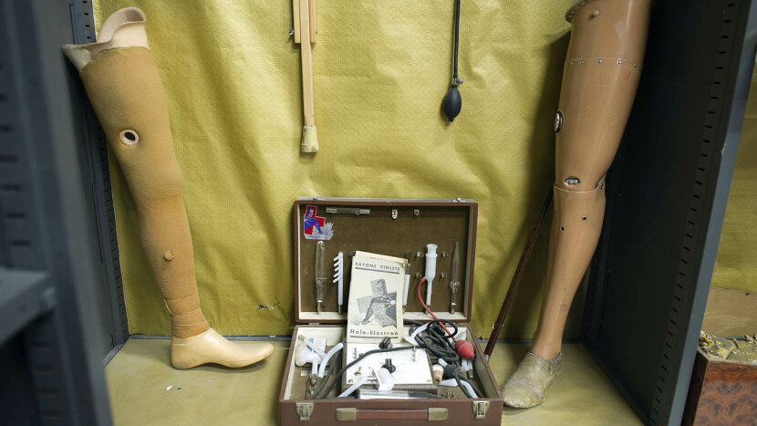 Prosthetic legs and medical equipment at Parisian lost and found center