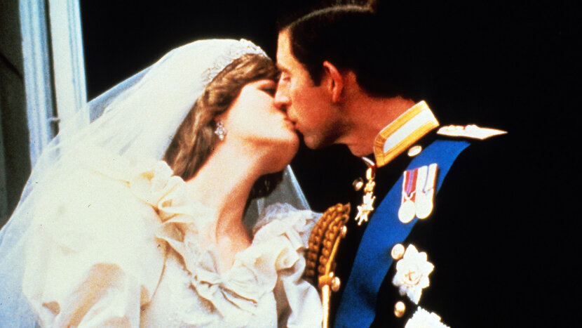 Princess Diana and Prince Charles kiss