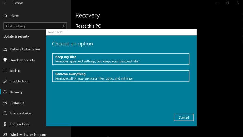 Windows 10 factory reset screenshot