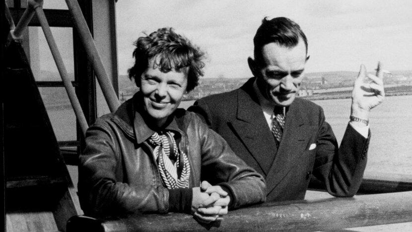 Amelia Earhart and navigator Fred Noonan