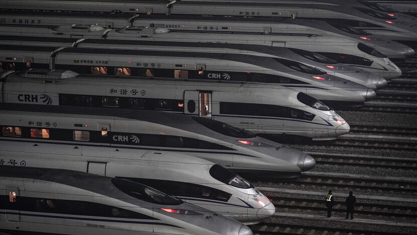 China Raily High-speed trains at train station