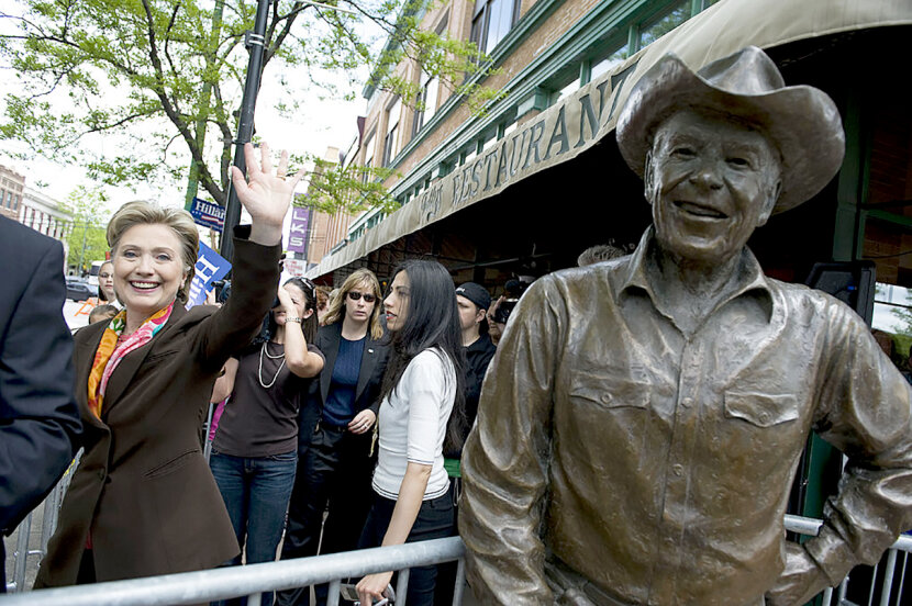 hillary clinton near statue of ronald reagan
