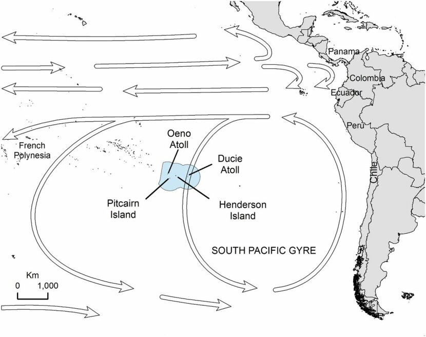 map of great pacific garbage gyres