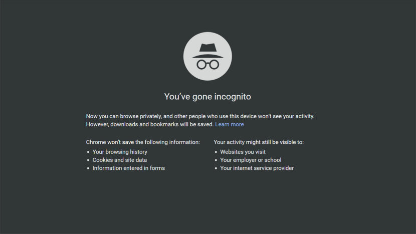 Chrome incognito page