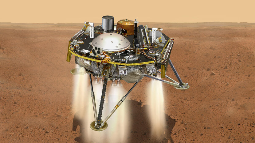 An illustration of InSight, moments from landing.