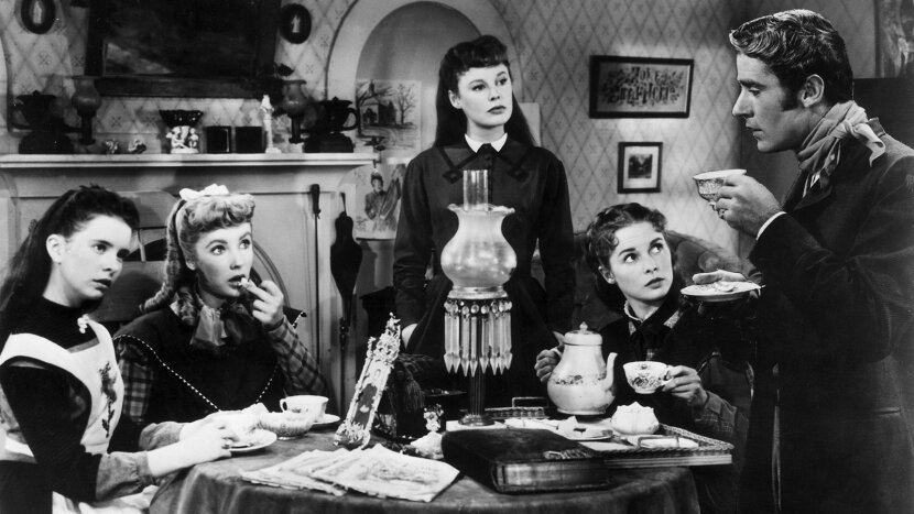 Margaret O'Brien, Elizabeth Taylor, June Allyson, Janet Leigh, and Peter Lawford, Little Women