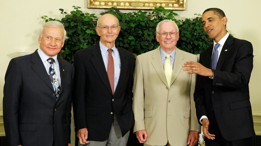 "Edwin ""Buzz"" Aldrin, Michael Collins and Neil Armstrong, Barack Obama"