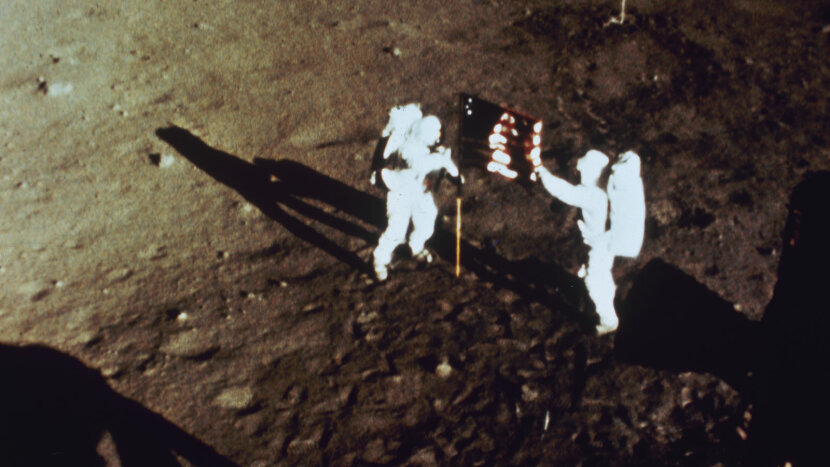 "Neil Armstrong and ""Buzz"" Aldrin, moon surface"