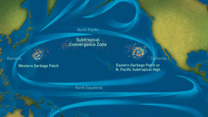 Pacific Garbage patch illustration