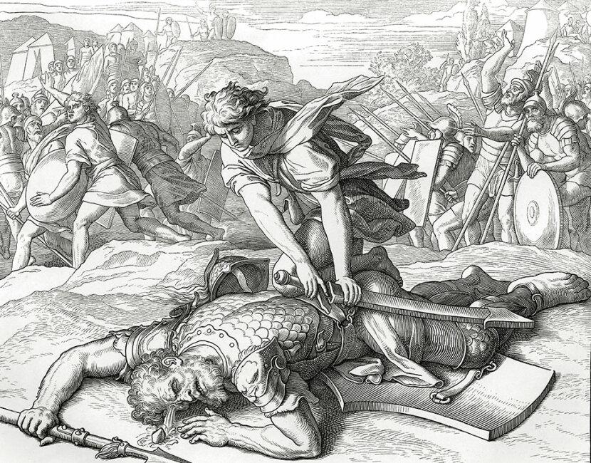 David cuts off the head of Philistine giant Goliath
