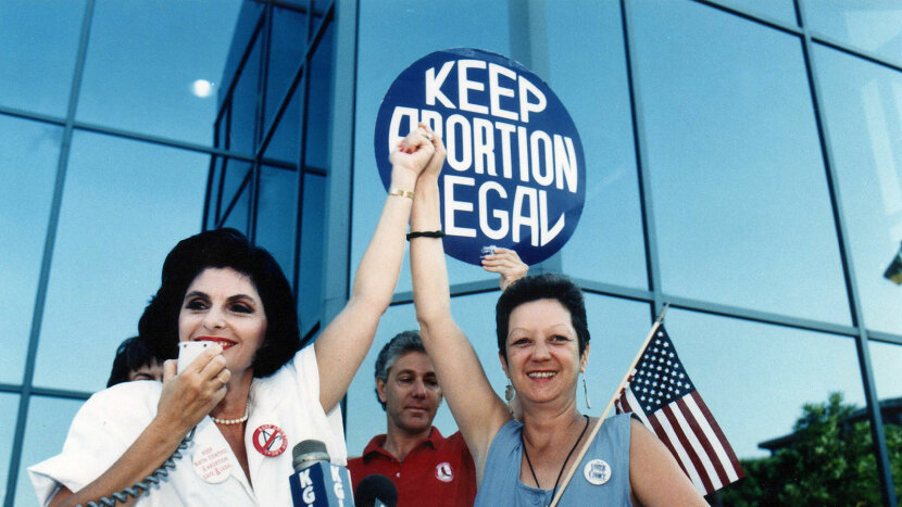 Gloria Allred and Norma McCorvey, pro-choice rally