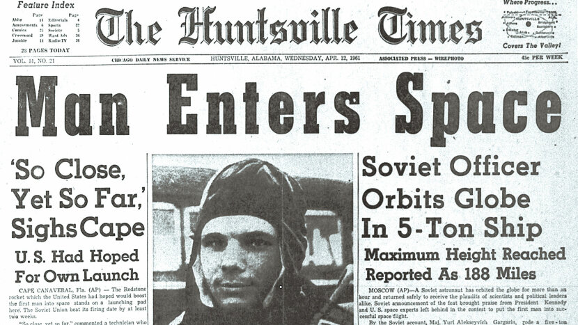 Huntsville Times, First Man in Space headline