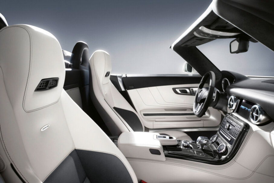 The Mercedes-Benz SLS AMG Roadster features the AIRSCARF system as standard equipment -- a neck-level heating system that blows warm air from the driver and passenger-seat head restraints. (Courtesy of Mercedes-Benz U.S.A.)