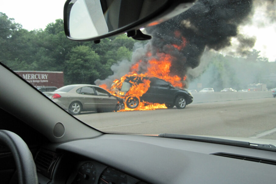 The threat of a fire might not be immediately apparent; however, it's always best to move away from a damaged car as soon as possible. (Creative Commons/Flickr/p_x_g)