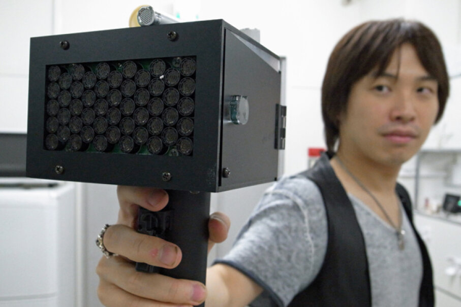The SpeechJammer makes you hear your own words, played at a slight delay -- just enough to irritate you and make you stop talking. Photo courtesy Kazutaka Kurihara