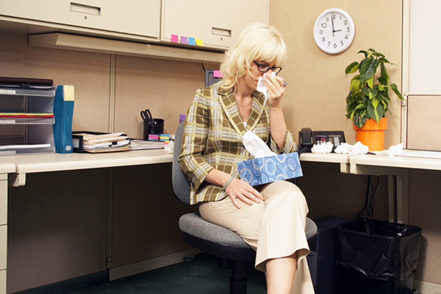 You're not doing anyone any favors by dragging your sick self into the office. Fuse/Thinkstock