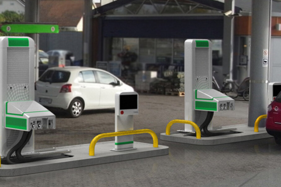 The robotic gas pumps from Fuelmatics will work with all car models, no matter their shape, size, or gas cap height. Image courtesy of Fuelmatics
