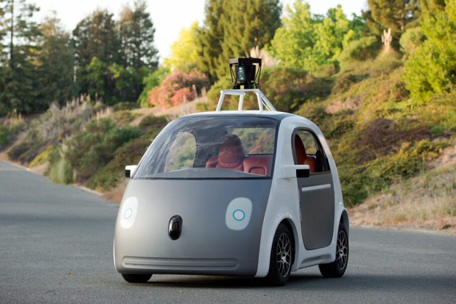 Google's latest self-driving car design — steering wheel and pedals not included. Smoothgroover22, Used under CC BY-SA 2.0 license