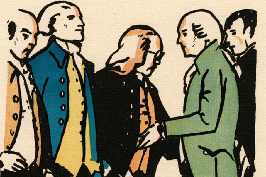 Some Revolutionary-era VIPs: From left to right, John Adams, Thomas Jefferson, Benjamin Franklin, Robert R. Livingston, and Roger Sherman are pictured in this 1926 woodcut by George Illian. © GraphicaArtis/Corbis