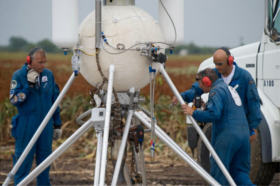 Armadillo Aerospace and its rocket vehicle (pictured here) won $500,000 by completing the second level of the lunar lander challenge in 2009, part of NASA's Centennial Challenges program. Photo courtesy NASA/James Blair