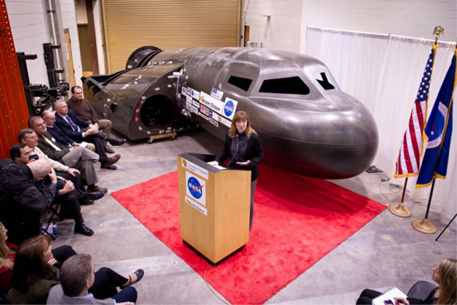It must have been kind of hard for those folks to pay attention to NASA Deputy Administrator Lori Garver on Feb. 5, 2011, what with the Dream Chaser looming in the background. Photo courtesy NASA/Bill Ingalls