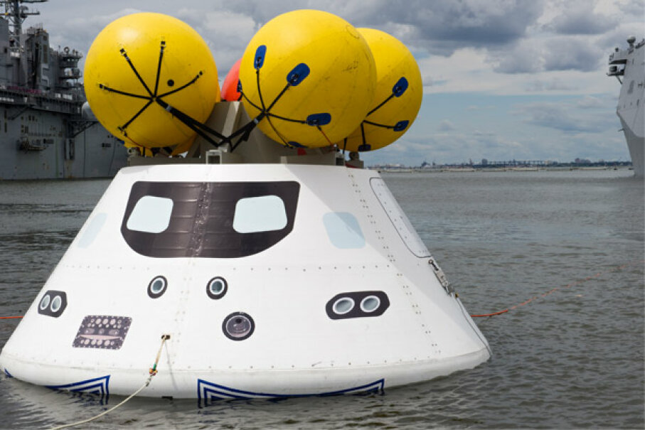 Orion undergoes recovery testing in August 2013. Lockheed Martin is the prime contractor for Orion. U.S. Navy photo courtesy Mass Communication Specialist Seaman Scott Barnes