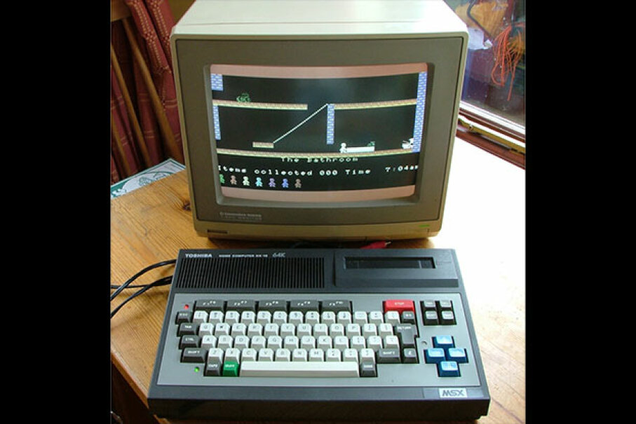 "This MSX is displaying ""Jet Set Willy,"" the follow-up to ""Manic Miner."" Thanks, readers, for helping us to name the game.  Creative Commons/Flickr user quagmirez31"