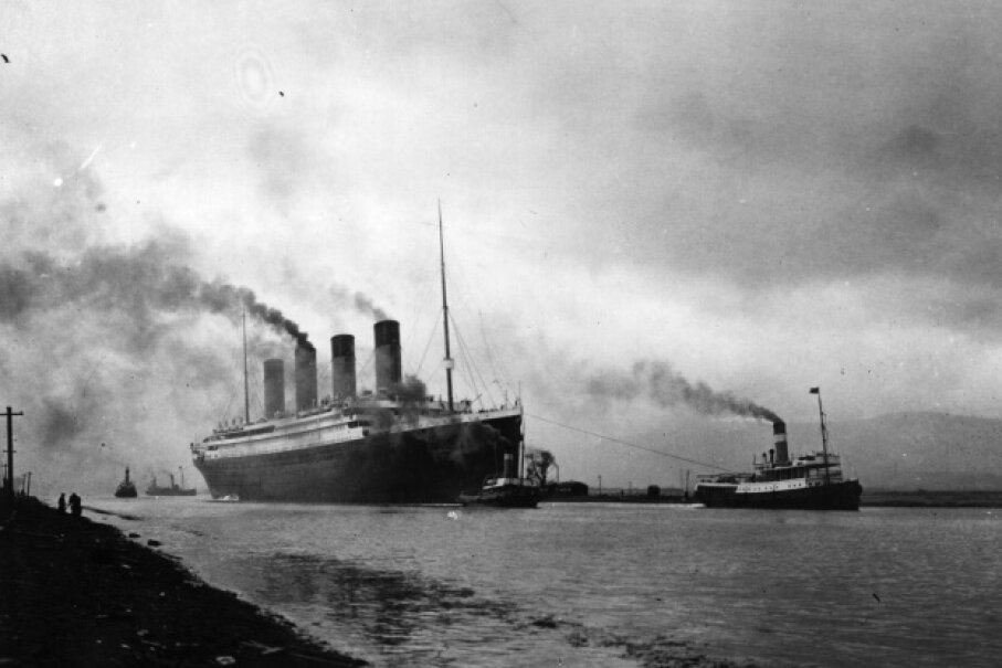 The Titanic leaves Belfast to start her trials, pulled by tugs -- shortly before her disastrous maiden voyage of April 1912.  Topical Press Agency/Getty Images