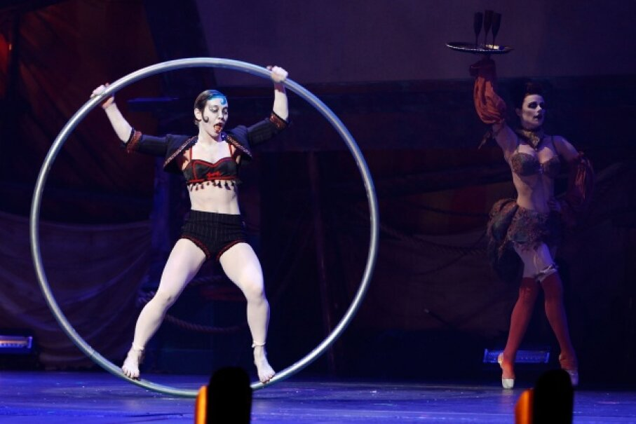 Cirque Berzerk performs on stage at the Los Angeles opening night at Club Nokia.