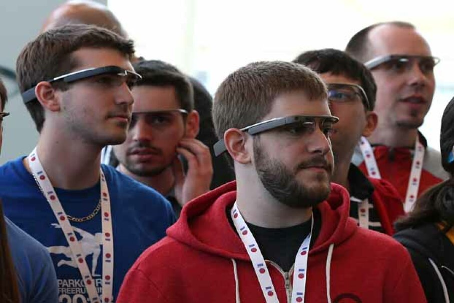 Attendees wear Google Glass while posing for a group photo during the Google I/O developer conference in San Francisco, 2013. Justin Sullivan/Getty Images