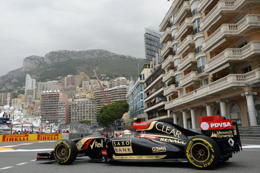 Pastor Maldonado of Venezuela drives the #13 Lotus during the first practice session of the Monaco Formula One Grand Prix in Monte Carlo on May 22, 2014. (BORIS HORVAT/AFP/Getty Images)
